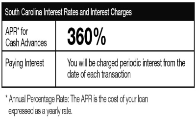 Online Flex Loans Interest Rates in South Carolina