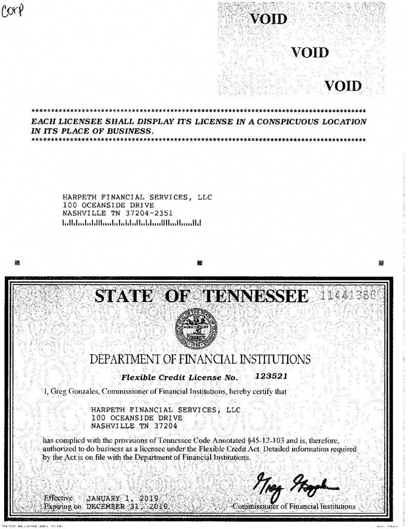 Advance Financial Tennessee License