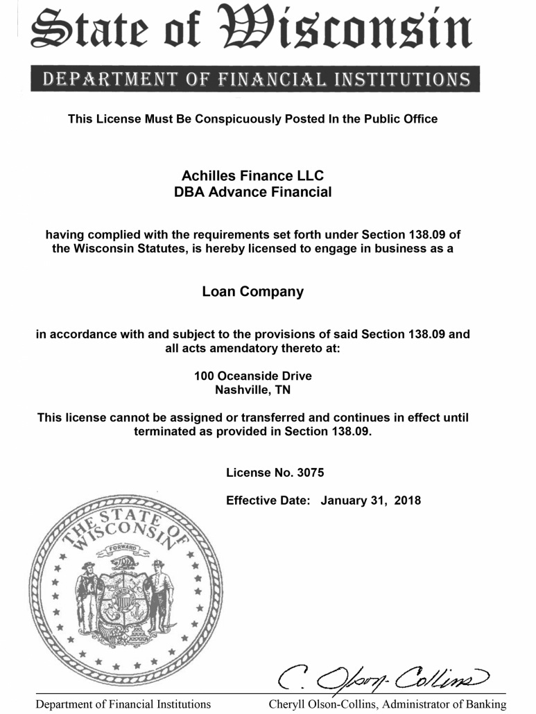 Advance Financial Wisconsin License
