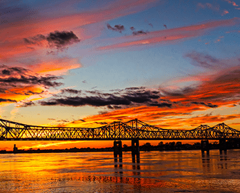 Sunset over the Mississippi River Bridge: Online Loans